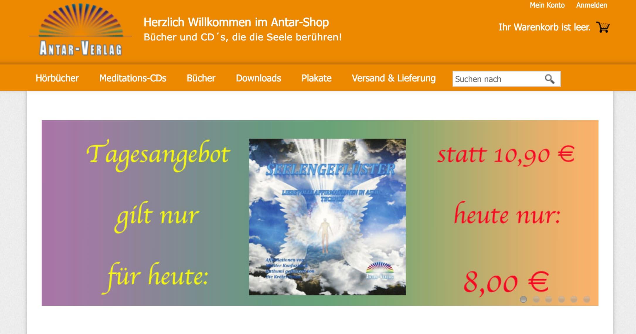 Antar-Verlag Online-Shop Screenshot